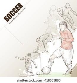 Illustration of soccer. hand drawn. soccer poster. Sport background.