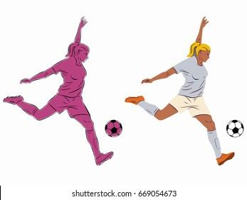 illustration of soccer player , black and color drawing, white background