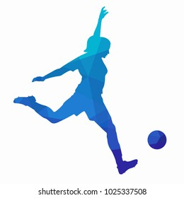 illustration of soccer player , blue triangles drawing, white background