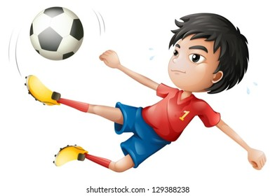 Illustration of a soccer player on a white background