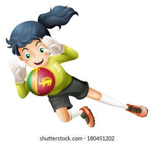 Illustration of a soccer player from Sri Lanka on a white background