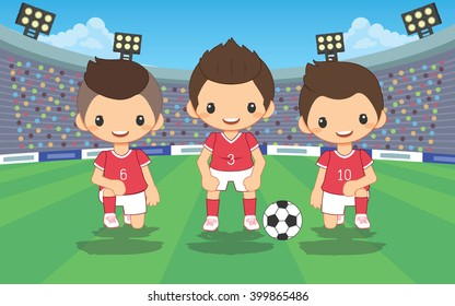 illustration of soccer red player at the soccer field