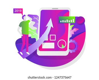 illustration of the social media business website and the development of a mobile website. Vector illustration for business, finance and marketing. with cellular, charts, gear, leaves, men, arrows