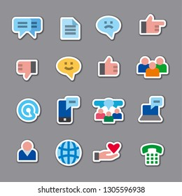 illustration of social media and network stickers set