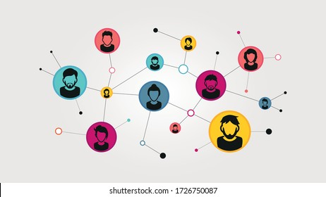 Illustration of a social network. Social contacts of people connected by nodes and lines. EPS 10 vector.