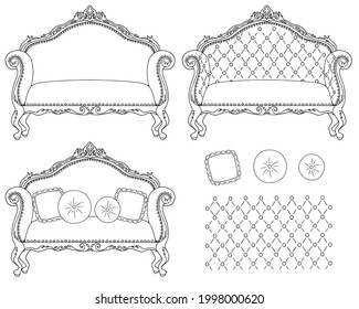 Illustration of sofa and cushion. Royal style. Line drawing.
