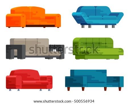 Fine Illustration Sofa Set Flat Style Furniture Stock Vector Lamtechconsult Wood Chair Design Ideas Lamtechconsultcom