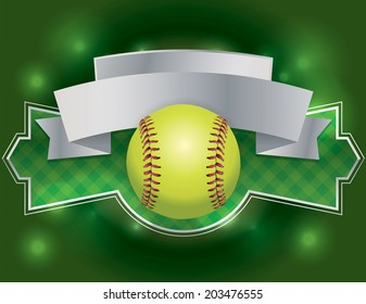 An illustration of a softball banner. Room for copy. EPS 10 vector contains transparencies.