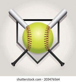 An illustration of a softball, bat, and home plate. Vector EPS 10 file contains transparencies and gradient mesh.