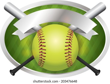 An illustration of a softball and bats on a emblem background. Vector EPS 10 contains transparencies.
