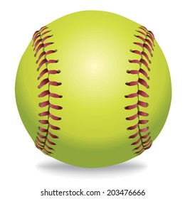 An illustration of a softball isolated on white. Vector EPS 10 contains transparencies and gradient mesh in the drop shadow.