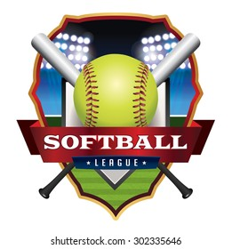 An illustration for a softball league emblem and badge. Vector EPS 10 available. EPS file contains transparencies and gradient mesh.