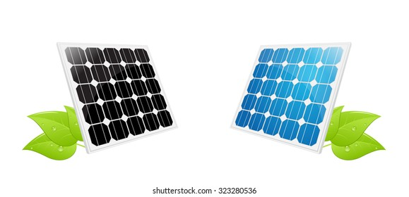 illustration of a solar cell panel with green leafs. vector illustration