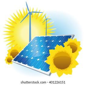 Illustration Solar and Wind energy