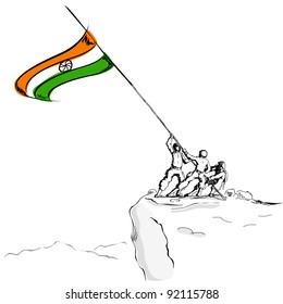 illustration of soldier raising Indian flag on hill