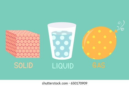 Illustration of Solid Liquid Gas Molecules in a Cube, Glass and Balloon for Physics Class