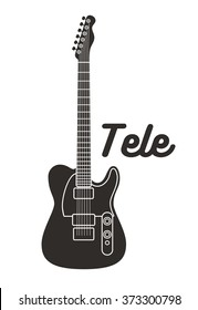 Illustration of solid-body electric guitar. Vector of Tele