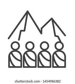 an illustration of someone's icon on the arafat mountain with a thin line style used for Islam, web, print, or pictograms. illustration of hajj, umrah, ramadhan kareem, ied mubarak - vector lines.