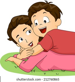 Illustration of a Son Hugging His Mother