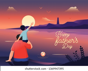 Illustration of a son sitting on her father's shoulder while seeing ocean together on sunset landscape background for Happy Father's Day celebration banner design.