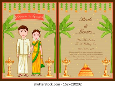 illustration of South Indian couple on Indian Wedding invitation template background