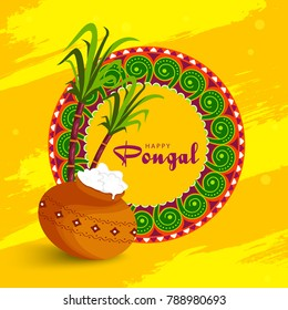 Illustration Of South Indian Festival Happy Pongal Greeting Background.