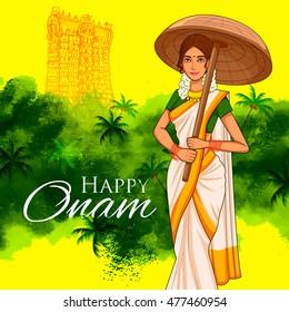 illustration of South Indian Keralite woman with tradition palm leaf umbrella, Olakkuda celebrating Onam