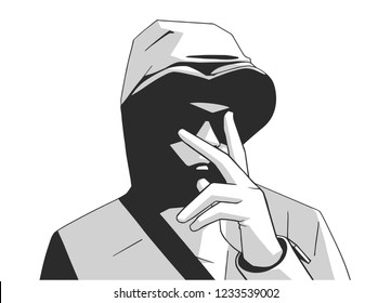 Illustration of South London young hooded gang member