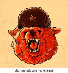 Illustration of a soviet bear .symbol of Russia.russian bear