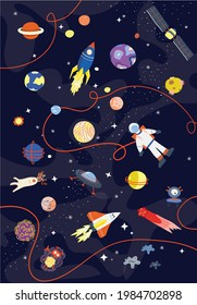 Illustration space with rockets astronauts and planets. Childlike wallpaper.