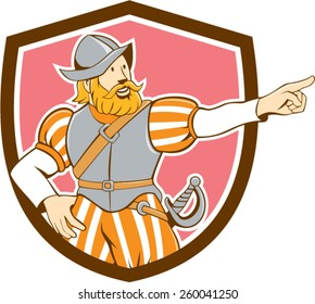Illustration of a spanish conquistador pointing looking to side set inside shield on isolated background done in cartoon style.