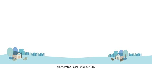 Illustration of a sparsely populated rural winter landscape.