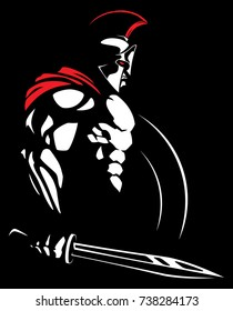 Illustration of Spartan warrior.