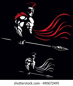Illustration of Spartan warrior on black background in 2 color versions.