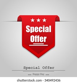 Illustration of special offer on a  gray background with shadow