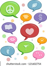 Illustration of Speech Bubbles featuring different topics
