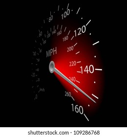 Illustration of the speedometer on dark background. Vector.