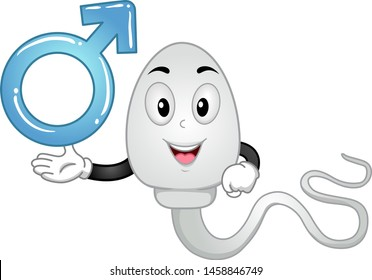 Illustration of a Sperm Mascot Showing a Male Symbol