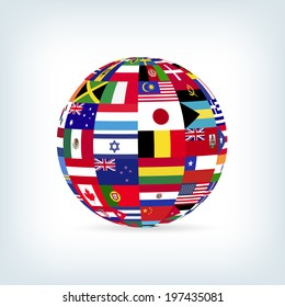 Illustration of a sphere with flags from many countries.