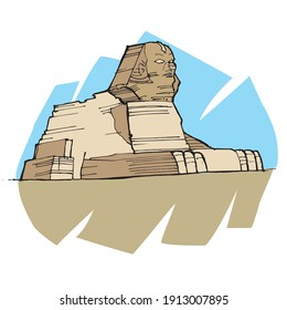 illustration of Sphinx of Giza, Egypt.  Mythological creature with a lion's body and a human head.