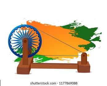 Illustration Of Spinning Wheel With Ashoka Chakra On Indian Flag Color Background Design. 2nd Of October.