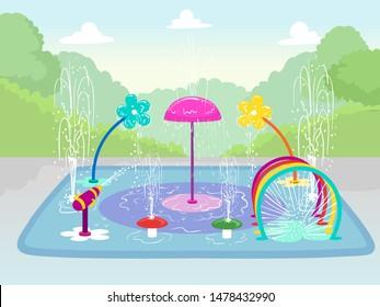 Illustration of a Splash Pad in a Park