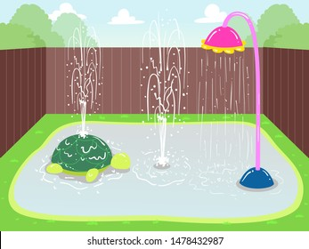 Illustration of Splash Pads with Sprinkling Water at the Backyard