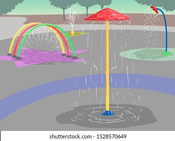 Illustration of Splash Pads in a Water Park Outdoors