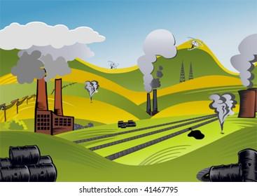 illustration of a spoiled landscape