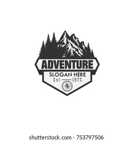 Illustration for sport advebture, camping, campfire, emblem camping, hobby illustration. Vintage mountain campfire vector logo and labels set