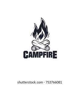 Illustration for sport camping, campfire, emblem camping, hobby illustration. Vintage mountain campfire vector logo and labels set