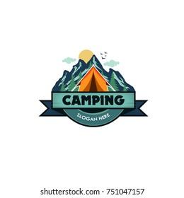 Illustration for sport camping, climbing, emblem climbing, hobby illustration. Vintage mountain camping vector logo and labels set.
