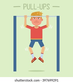 Illustration of a sportsman making pull-ups. Physical exercises, training, workout, sport, healthy lifestyle. Flat style vector illustration