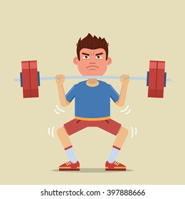 Illustration of a sportsman training with a barbell. Physical exercises, workout, weight lifting, sport, healthy lifestyle. Flat style vector illustration